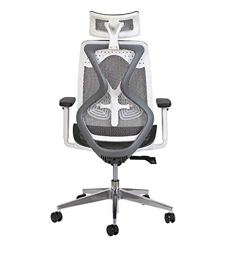 Misuraa Imported Xenon High Back Ergonomic Chair with Advanced Synchro Tilt Mechanism, Mesh Seat and Back, Adjustable Seat Depth, Lumbar Support, Arms and Headrest (Grey and White)