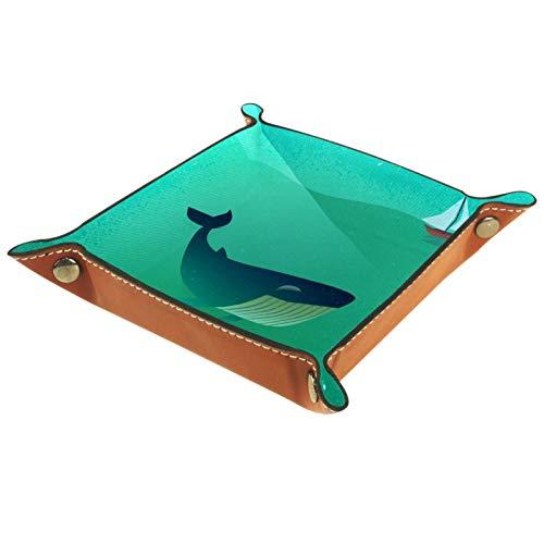 YATELI Petite boîte de Rangement, Plateau de Valet pour Homme,Navire océanique Baleine,Organisateur de fourre-Tout en Cuir pour Bijoux à clés