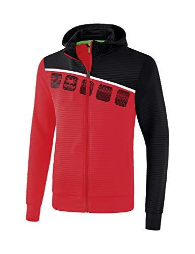 ERIMA Kinder 5-C Trainingsjacke mit Kapuze, rot/schwarz/weiß, 164, 1031902