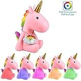 Navaris luce notturna LED unicorno - lampada per bambini lucina da notte per camera bambini con led multicolore cambio colori arcobaleno - rosa