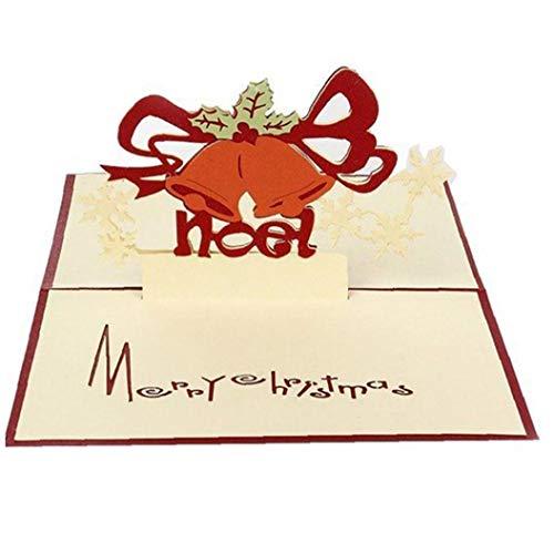1pc 3d Up Grußkarten Cartoon-weihnachtsbell-papierkarten-folding-einladungs-karten-postkarte Für Partei-weihnachtsgeschenkkarte Pop