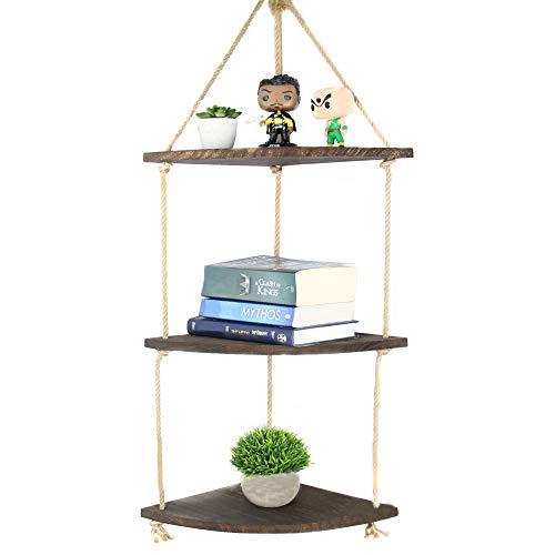 3 Tier Wooden Hanging Corner Shelf   M&W