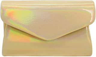 JUNfenghe Yellow White European and American Style PU Leather Laser Ladies Clutch Bag Size: 20 * 5.5 * 12.5cm (Color : Yellow)