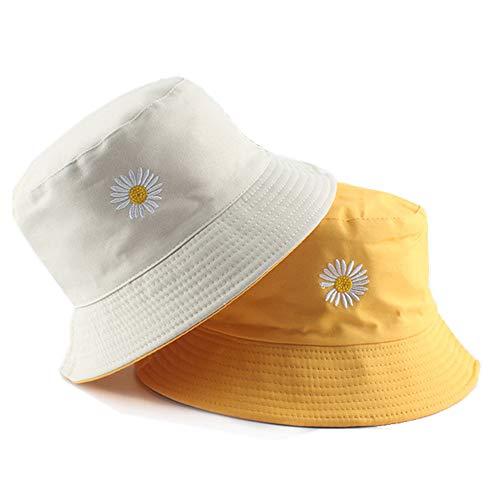 Flower Embroidery Hat Summer Travel Bucket Beach Sun Hat UPF 50+ Sun Protection Reversible Vistor Outdoor Cap for Men&Women (Beige-Yellow)