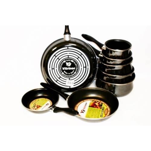 VITRINOR - Lot de 5 casseroles + 3 poêles noire induction A03-Lot 8 piece-Noire
