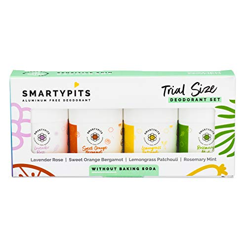 SmartyPits - Essential Oil | Mini Deodorant Sampler Pack Sensitive Skin Formula (baking soda free) Lavender Rose