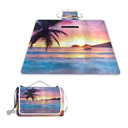 XINGAKA Couverture de Pique Nique,Plage Ocean Sunrise Tropical Palm Tree Island Hawaiian Sunset Sea Waves Summer,Tapis Idéale pour Plage Jardin Parc Camping