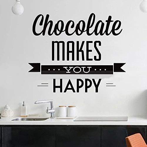 JXLLCD Cool Food Cafe Wandaufkleber Vinyl Aufkleber Zitat Schokolade Ihr Happy Home Wandbild Künstler Home Decoration 55x62cm