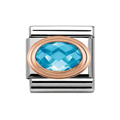 Nomination Women's Charm Classic Composable Partially Gold-Plated Stainless Steel Blue Zircon–430601/006
