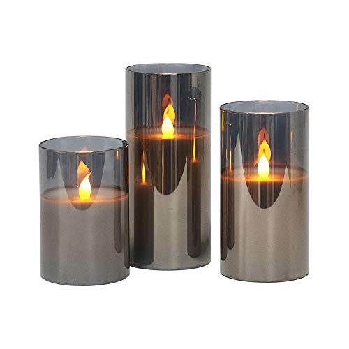LTXDJ Flameless Candles, Led Candles Flickering Pillar Real Wax LED Glass Candle Sets Battery Operated with Timer Remote Glass Effect