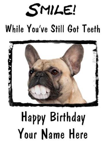Franse Bulldog Gelukkig Verjaardagskaart Tanden Humor code34 A5 Gepersonaliseerde Groeten