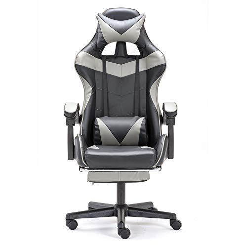 Soontrans Gaming Stuhl Bürostuhl Ergonomischer Schreibtisch Stuhl mit Fußstütze, Höhen- und Rückenlehne Verstellbar, mit Kopf- und Lendenwirbelpolster, für Kinder und Große Menschen (Grau)