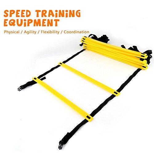 Agility Ladder 19 Voet, 12 Verstelbare Flat Rungs met Draagtas voor Speed Training