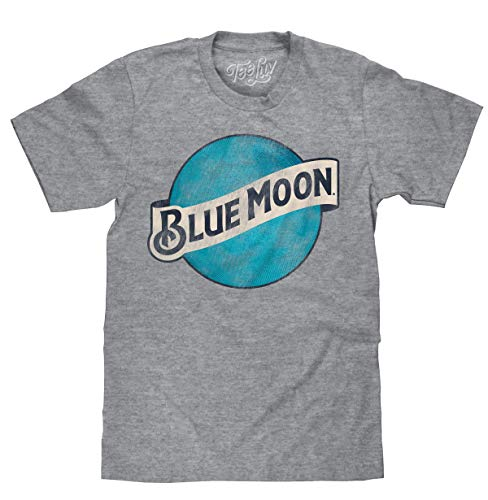 Tee Luv Blue Moon T-Shirt - Blue Moon Brewing Company Beer Logo Shirt (LG)
