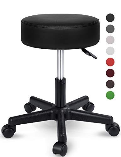 TRESKO Rollhocker höhenverstellbar Schwarz | Drehhocker 10 cm Dicke Polsterung | Arbeitshocker 360° drehbar | Hocker