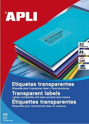 Apli 1225 – transparante etiketten voor laserprinters en kopieerapparaten, 210 x 297 mm, 20 vellen