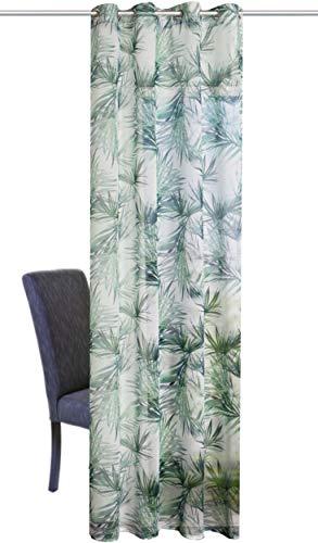 Tenda decorativa con occhielli, effetto lino, stile vintage, 140 x 245 cm, bianco/verde