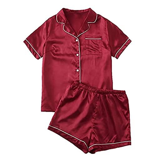Primavera Y Verano Nuevos Pijamas De SatéN para Mujer, Ropa Casual para El Hogar, Traje De Rebeca
