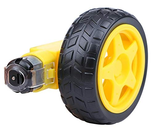 Zyilei- Motor Dc DC Motor eléctrico con motor TT TT Rueda de neumático 3-6V Motor de engranajes de doble eje, motor de caja magnética TT, Resistente al desgaste ( Speed(RPM) : 1 x Motor 1 x Wheel )