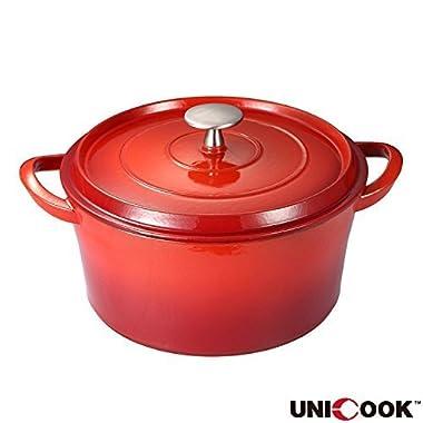 Unicook Enameled Cast Iron Dutch Oven,3-Quart, 22cm Diameter,Bonus of 1pc Heat Resistant Pot Holder,Black Matt Enamel Interior