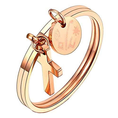 (A) 指輪 リング レディース サージカルステンレス316L ピンクゴールドクロス&タグチャームシェルステンレスリング(SRV116) 20号 コイン 硬貨 人気