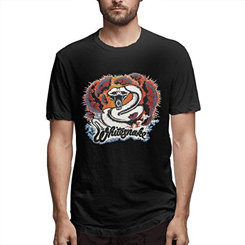 Whitesnake Man T-shirt met korte mouwen Casual Zomer Zwart