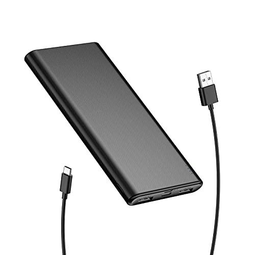 BABAKA Powerbank 10000mAh Ultradünner Externer Akku mit 2 USB Ausgänge, USB C und Micro Eingang Tragbares Ladegerät für Handy iPhone Samsung Huawei iPad Tablet und Mehr - Schwarz