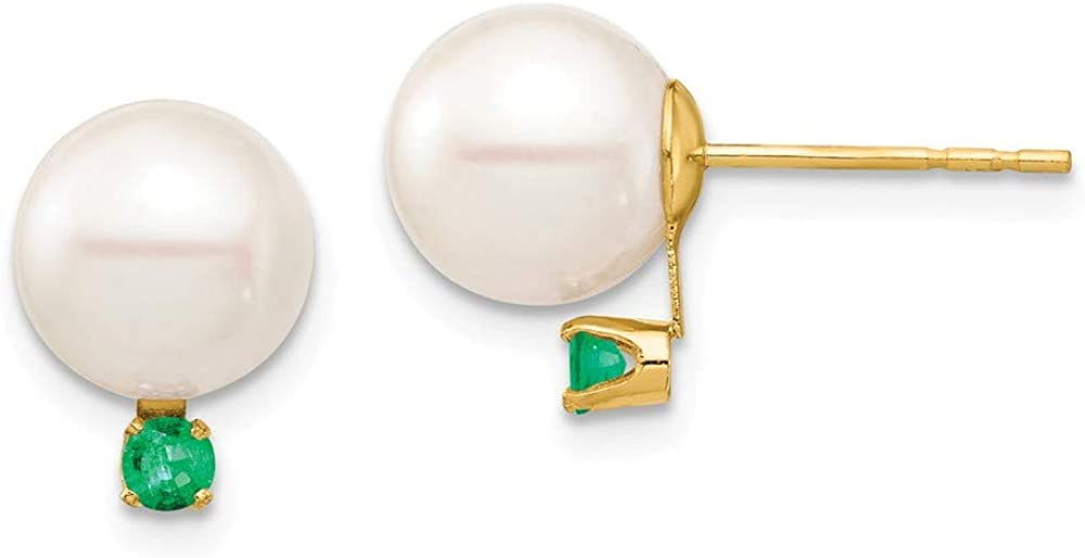 Solid 14k Yellow Gold 8-8.5mm White Round Freshwater Cultured Pearl Emerald Green May Gemstone Post Studs Earrings