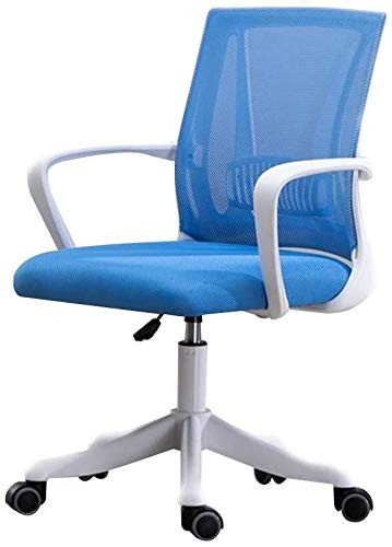 WYL Office Chair Computer Chair Adjustable Height Eronomic Office Desk Chair with Lumbar Support Mesh Excutive Council Chair for Office Meeting Room (Color : Blue, Size : White Frame)