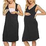 Ekouaer Women's Nursing Gowns Maternity Nightdress Sleeveless Nursing Sleepshirt Labor Delivery Gowns(Black,S)