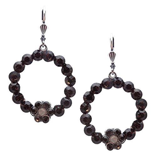 Catherine Popesco Smokey Grey & Sand Opalescent Swarovski Crystal Round Flower Silvertone Dangle Earrings
