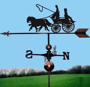 OriginalForgery Coach & Zwei Pferde Wetterfahne, handgefertigt, sehr hohe Qualität