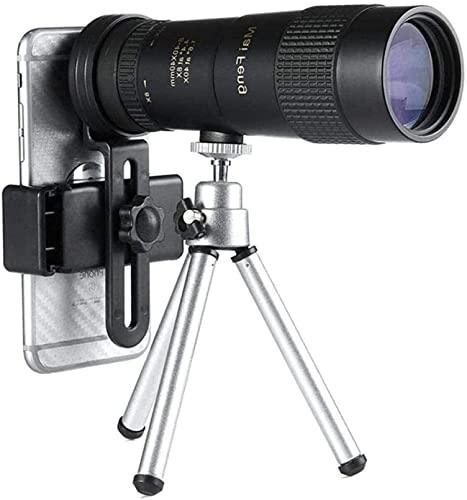 Telescopio 8-40x40 monocular Compacto retráctil Zoom Impermeable bak4 Professional HD ED Glass con trípode Clip para teléfono con trípode