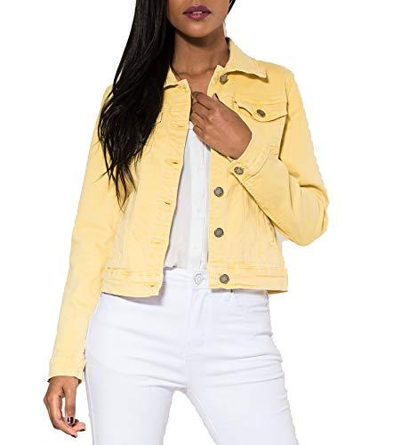 EGOMAXX Damen Jeans Jacke Kurz Übergangsjacke Frühling Denim Weste, Farben:Gelb, Größe:36