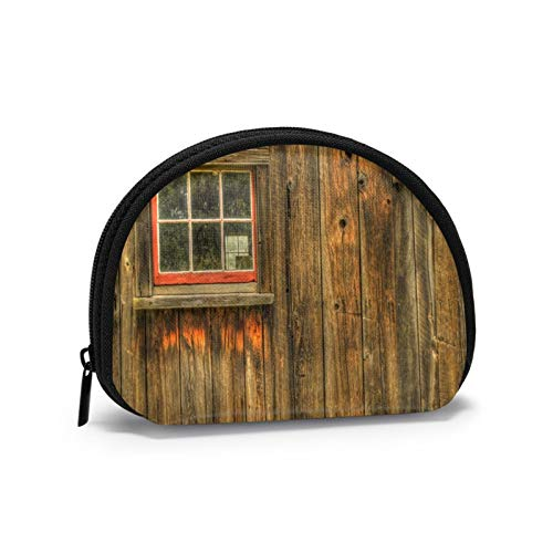Rustic Cabin with A Window Women Portable Coin Purse Zippered Change Pouch Wallet Shell Storage Bags