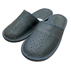Graue handgefertigte Pantoffeln mit geschlossenen Zehen Pantoletten für Herren aus Naturleder und rutschfesten…