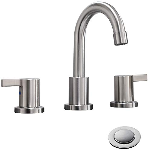 Review 2 Handle 3 Hole 8 inch Widespread Bathroom Faucet with Metal Pop-Up Drain By Phiestina, Brush...