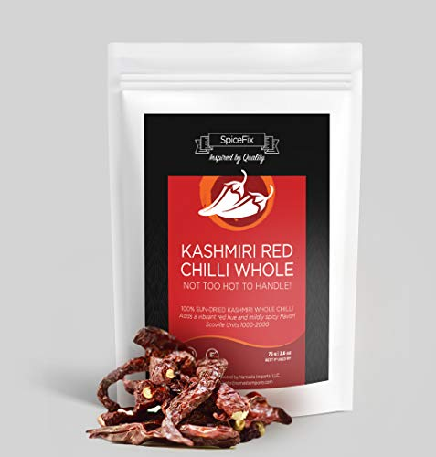 SpiceFix Kashmiri Chili Whole 2.6 oz | Dried Red Chilies | Stemless | Resealable Bag | Indian Spices | Mild - Medium Heat | Cooking | Pure | Sun Dried
