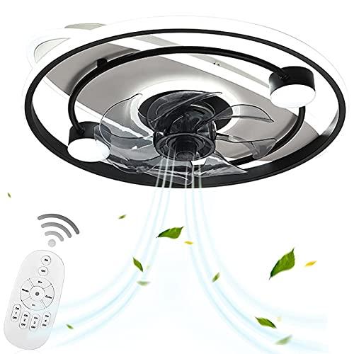 Ventilador de Techo con Iluminación Y Mando a DistanciaPlafón LED Negro Redondo Tranquila para Dormitorio Oficina Moderno Regulable Lámpara Plafones Silencioso Luz del Ventilador VOMI
