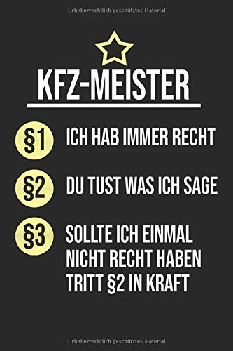 KFZ-Meister: Notizbuch Planer Tagebuch Schreibheft Notizblock - Geschenk für Mechaniker, Auto Schrauber, KFZ-Mechaniker. Werkstatt Hobby Beruf Job (15,2 x 22.9 cm, 6