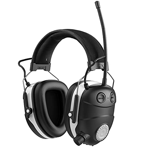 Bluetooth Ear Hearing Protection, Wireless FM/AM Radio Noise Reduction Safety Earmuffs, 29dB NRR Ear Hearing Protection,Hearing Protector with Built-in Mic & Hi-Fi Speakers for Gun Range Lawn Mowing