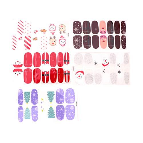 Lurrose 5 hojas de manicura de navidad envolturas de uñas completas pegatinas de esmalte de arte tiras de...
