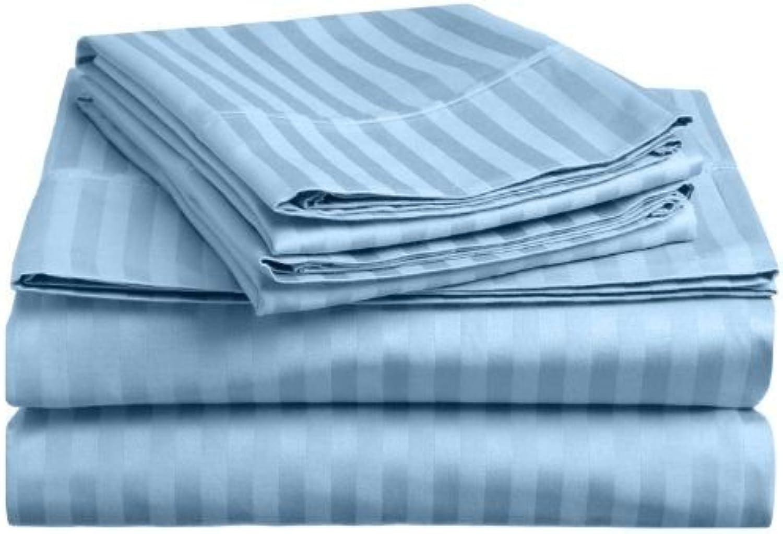 1000 Thread Count Three (3) Piece Queen Size bluee Stripe Duvet Cover Set, 100% Egyptian Cotton, Premium Hotel Quality