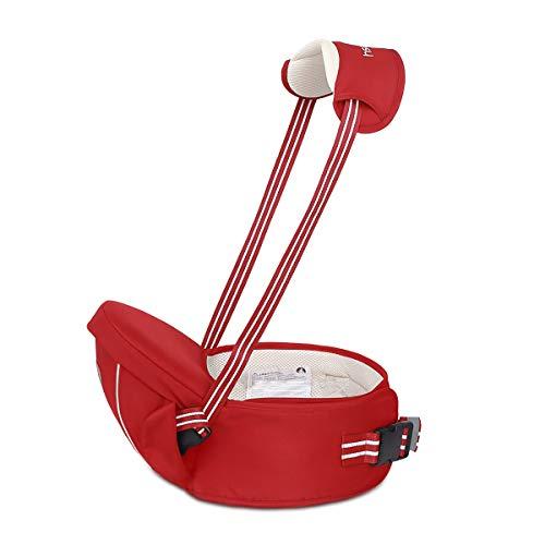 SONARIN Multifuncional Hipseat Baby Carrier,Portador de bebé,Tamaño Gratuito, asiento de asiento para niños pequeños,Cinturón Frontal,4 Posiciones de Carrying,Regalo Ideal(Rojo)