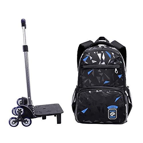 Meijunter Trolley Zaino di Scuola con Ruote - Borsa Scuola Handbag di Rotolamento per Kids Studenti Bambini Ragazzi Ragazze(Nero & Blu)