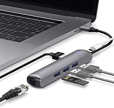 elago 6 in 1 Ethernet - HDMI Multi HUB USB-C, Ethernet Port, 4K HDMI, PD Charging Port, USB 3.0 Ports - Compatible with Apple MacBook Pro 2018/2017/2016, Samsung Galaxy and Other USB Type-C Devices