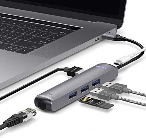 elago Ethernet 6 en 1 Compatible con la MacBook Pro 2018/2017/2016 y Otros Dispositivos USB Tipo-C – Multi HUB HDMI USB-C, Puerto Ethernet, HDMI 4K, Puerto de Carga PD, Puertos USB 3.0