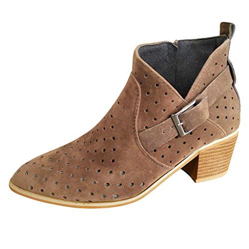 FNKDOR Schuhe Sommer Damen Booties Stiefeletten Schnalle Hohl Atmungsaktiv Chunky Heel Unregelmäßig Schuh Mund Einzelne Schuhe Braun 36 EU