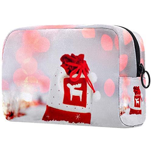 Bolso Cosmético Impermeable Bolsa de Regalo roja de Navidad Neceser Viaje Bolsa de Maquillaje Portable Neceser de Bolsa de Lavado de Viajes Vacaciones Elementos Esenciales 18.5x7.5x13cm