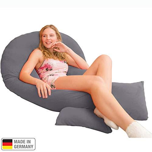 Traumreiter Jumbo XXL Seitenschläferkissen mit Bezug Graphit-grau I Schwangerschaftskissen U Form Full Body Pillow Seitenschläfer Kissen für Schwangere Lagerungskissen